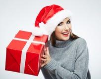 Christmas Santa hat  woman Stock Photography