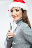 Christmas Santa hat  woman portrait hold wine glas Royalty Free Stock Photography