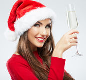 Christmas Santa hat  woman portrait hold wine glas Stock Photography