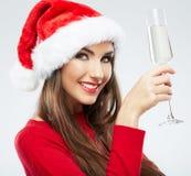 Christmas Santa hat  woman portrait hold wine glas Stock Photography