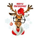 Christmas santa hipster deer. Vector illustration Royalty Free Stock Photography