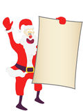 Christmas Santa holding a blank sign Stock Photos