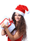 Christmas Santa isolated woman portrait hold christmas Stock Photography