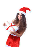 Christmas Santa isolated woman portrait Royalty Free Stock Photography
