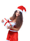 Christmas Santa isolated woman Stock Image