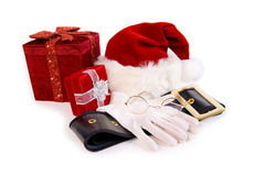 Christmas: Santa Items and Christmas Presents Royalty Free Stock Image