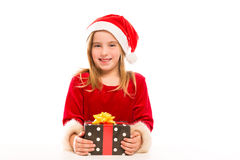 Christmas Santa kid girl happy excited with ribbon Stock Image