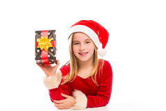 Christmas Santa kid girl happy excited with ribbon gift Stock Photos