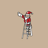 Christmas Santa on ladder Royalty Free Stock Photography
