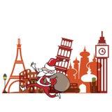 Christmas Santa in landmark Europe Royalty Free Stock Photos