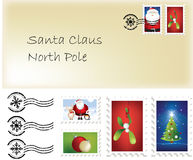 Christmas santa letter and stamps. Illustration of christmas santa letter and stamps and postage marks Royalty Free Stock Images