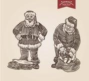 Christmas Santa New Year handdrawn engraving style template. Christmas Santa bag with gifts set New Year handdrawn engraving style template poster banner print Vector Illustration