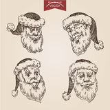 Christmas Santa New Year handdrawn engraving style template Royalty Free Stock Photo