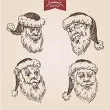 Christmas Santa New Year handdrawn engraving style template. Christmas Santa emotional heads labels New Year handdrawn engraving style template poster banner Royalty Free Illustration