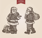 Christmas Santa New Year handdrawn engraving style template. Christmas Santa with gift bags New Year handdrawn engraving style full body portraits set template Stock Illustration