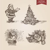 Christmas Santa New Year handdrawn engraving style template. Poster banner print web site pen pencil crosshatch hatching paper painting retro vintage vector Royalty Free Illustration