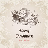 Christmas Santa New Year handdrawn engraving style template Stock Images