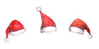 Christmas Santa red hats, watercolor Stock Image
