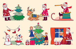 Christmas with Santa, reindeer and children Royalty Free Stock Photos