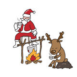 Christmas Santa and Reindeer drinking coffee Royalty Free Stock Image