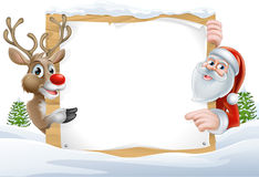 Christmas Santa and Reindeer Sign Royalty Free Stock Image