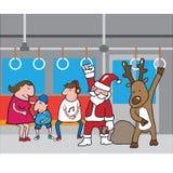 Christmas Santa and reindeer in subway cartoon Stock Photos