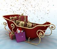 Christmas Santa's sleigh with presents Stock Image