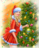 Christmas Santa woman with christmas gifts Royalty Free Stock Images