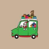 Christmas Santa shopping car Royalty Free Stock Photography