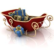 Christmas Santa sledge. With gifts on a white background Stock Images