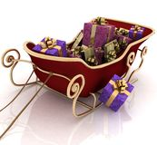 Christmas Santa sledge with gifts. On a white background Royalty Free Stock Photos