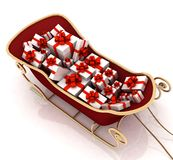 Christmas Santa sledge with gifts Royalty Free Stock Image