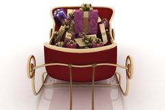 Christmas Santa sledge with gifts Stock Photos
