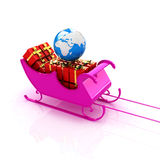 Christmas Santa sledge with gifts Stock Image