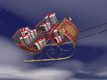 Christmas Santa sleigh full of gifts - 3D render Stock Photos