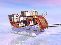 Christmas Santa sleigh full of gifts - 3D render Royalty Free Stock Image