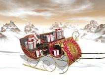 Christmas Santa sleigh full of gifts - 3D render Royalty Free Stock Image