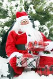 Christmas Santa in the snow royalty free stock image