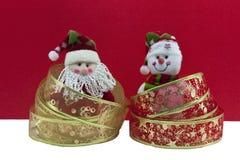 Christmas with santa and snow man Stock Image