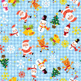Christmas Santa snowflakes winter seamless pattern Royalty Free Stock Photography