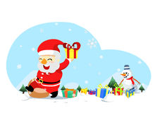 Christmas santa with snowman Stock Photography