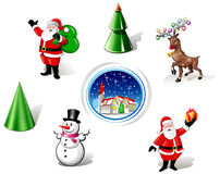 Christmas Santa, Snowman and Deer Iconset Stock Images