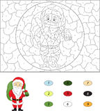 Christmas Santa St Nicolas. Color by number educational game f Stock Photos