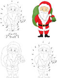 Christmas Santa St Nicolas. Coloring book and dot to dot game Royalty Free Stock Photos