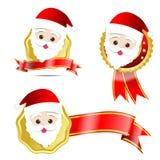 003-Christmas santa tag. Christmas santa with tag ribbon on the white background Royalty Free Stock Photo