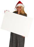 Christmas Santa Woman Blank Sign Royalty Free Stock Images