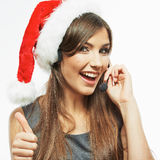 Christmas Santa woman call center operator.Thumb. Royalty Free Stock Photo