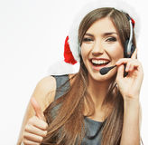 Christmas Santa woman call center operator.Thumb. Stock Photo
