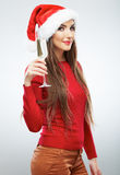 Christmas Santa woman isolated portrait. Stock Photos