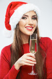 Christmas Santa woman isolated portrait. Stock Photo